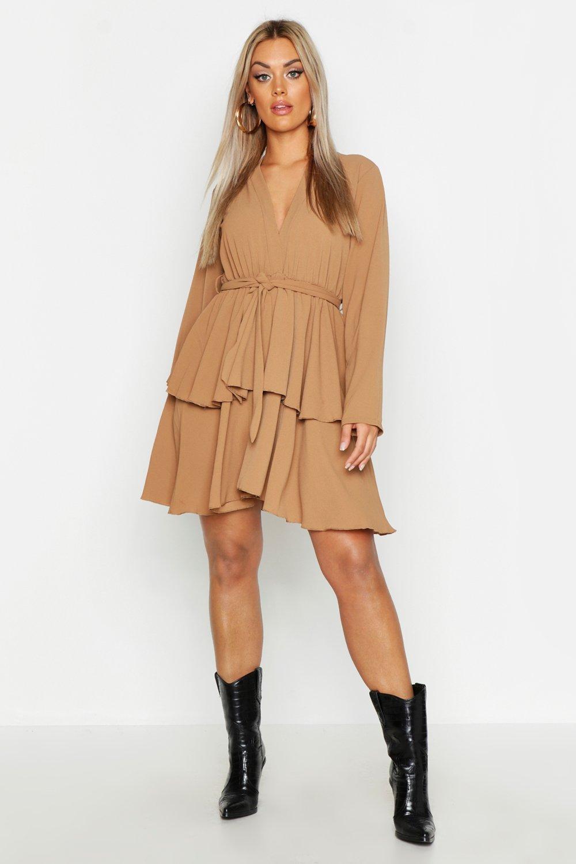 7e56984837 Lyst - Boohoo Plus Plunge Tie Waist Skater Dress in Brown
