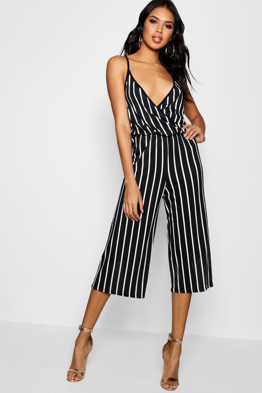 deba5ce79a1 Boohoo Striped Culotte Strappy Jumpsuit in Black - Lyst