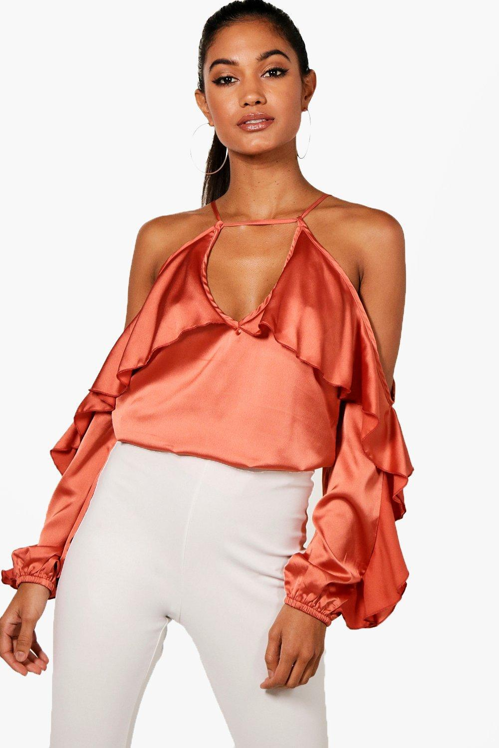 6c1378cb3ac366 Boohoo. Women s Cold Shoulder Ruffle Sleeve Top