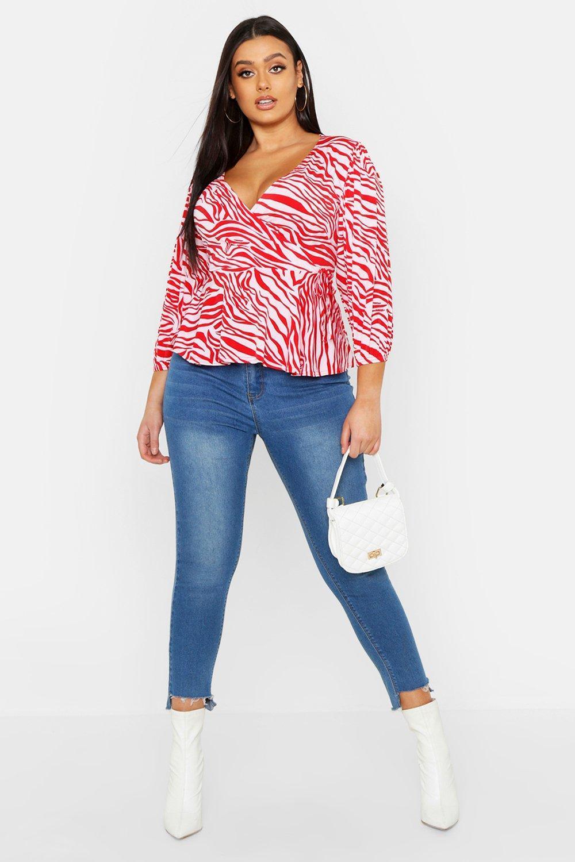 3430d9165e7b77 Lyst - Boohoo Plus Zebra Print Wrap Tie Peplum Top in Pink