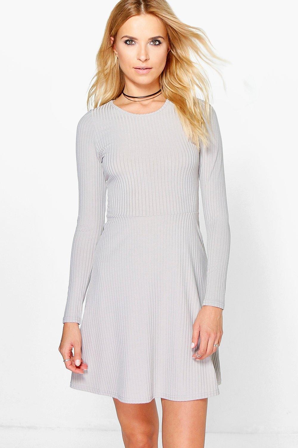 Lyst - Boohoo Maryana Long Sleeved Ribbed Skater Dress in Gray 06ba0d171