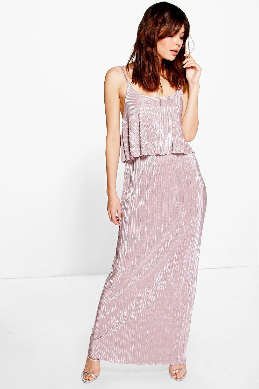 c0a43503fa Boohoo Tahnee Metallic Pleated Maxi Dress in Purple - Lyst