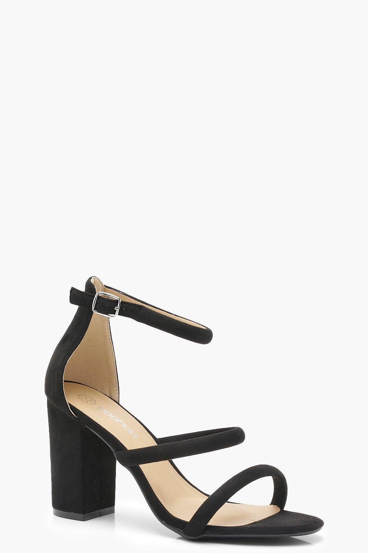 d6a83c95913a Boohoo Triple Strap Block Heels in Black - Lyst