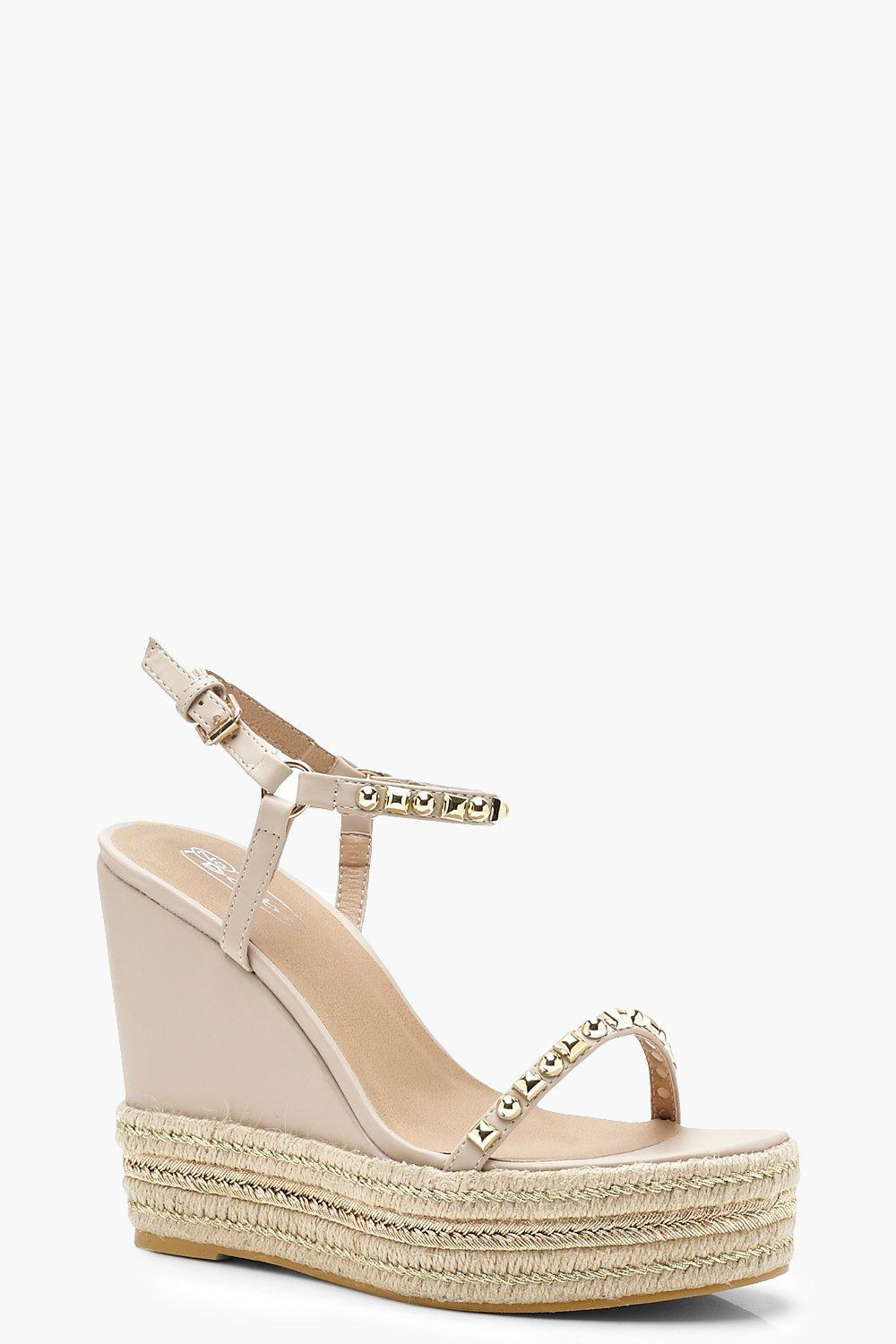 168ebc606d15 Boohoo Two Part Studded Wedges in Natural - Lyst