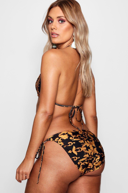 86901178cd Boohoo Plus Collins Chain Print Triangle Bra Bikini in Black - Lyst