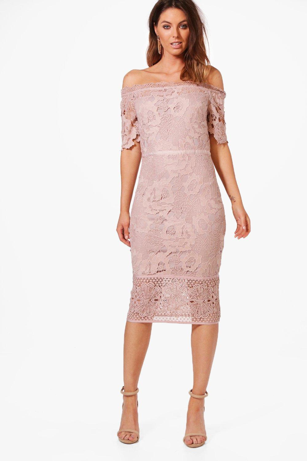 Boohoo Boutique Off Shoulder Lace Midi Dress in Pink - Lyst efa1634fa