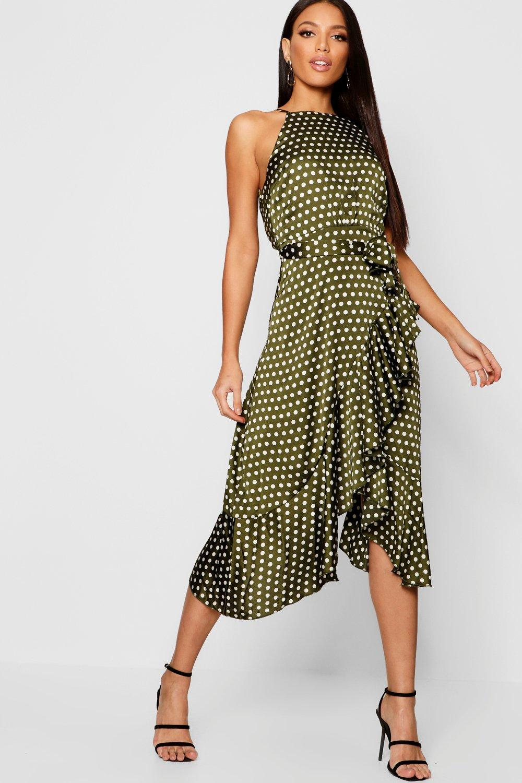 65f6137d80 Lyst - Boohoo Satin Polka Dot Frill Detail Midi Dress in Green