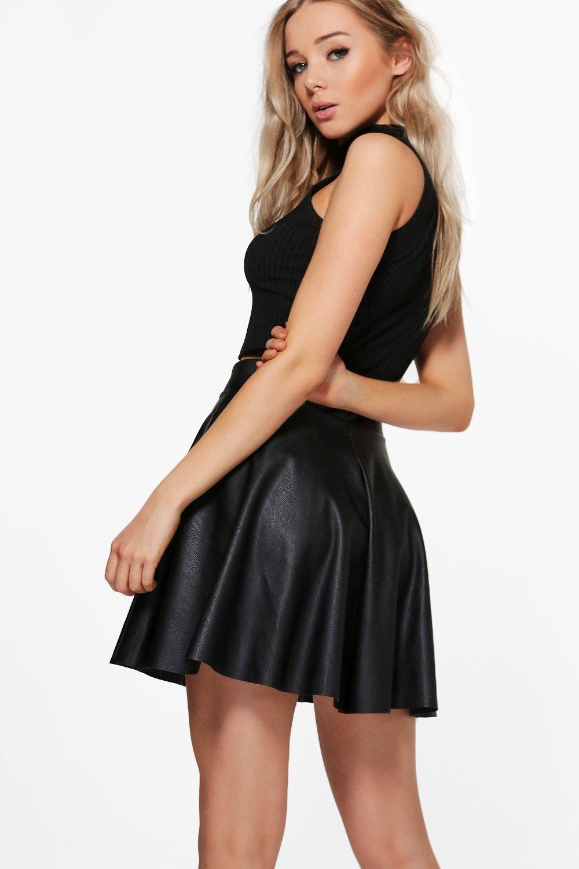 f17cebecda06e Boohoo - Black Leather Look Full Skater Skirt - Lyst. View fullscreen