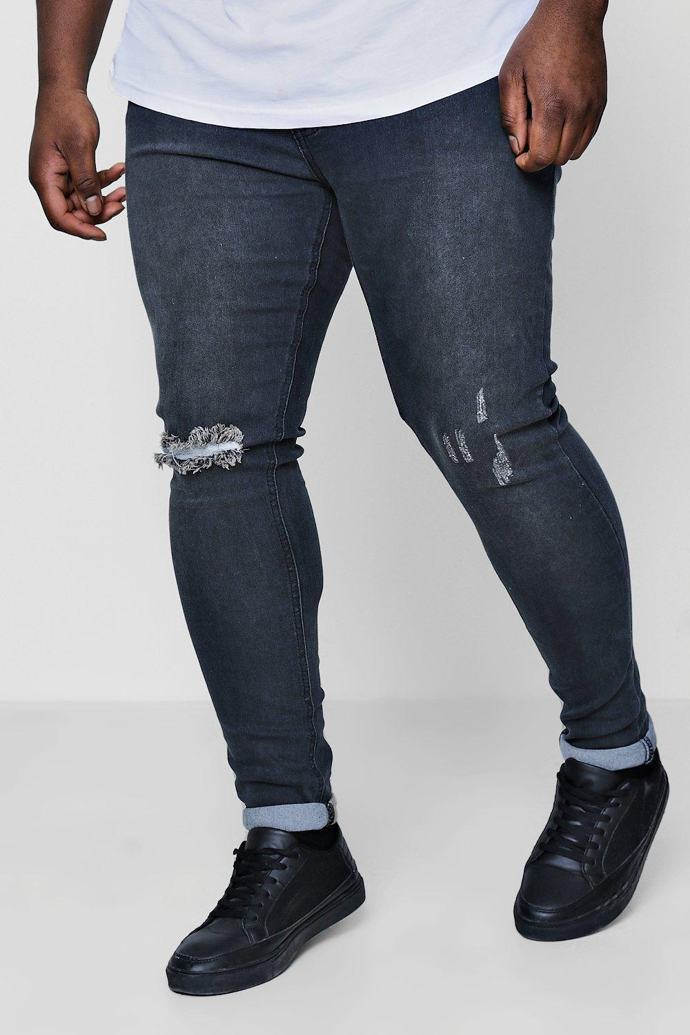 975484767aa51 Boohoo Big And Tall Rip And Repair Skinny Jeans in Blue for Men - Lyst