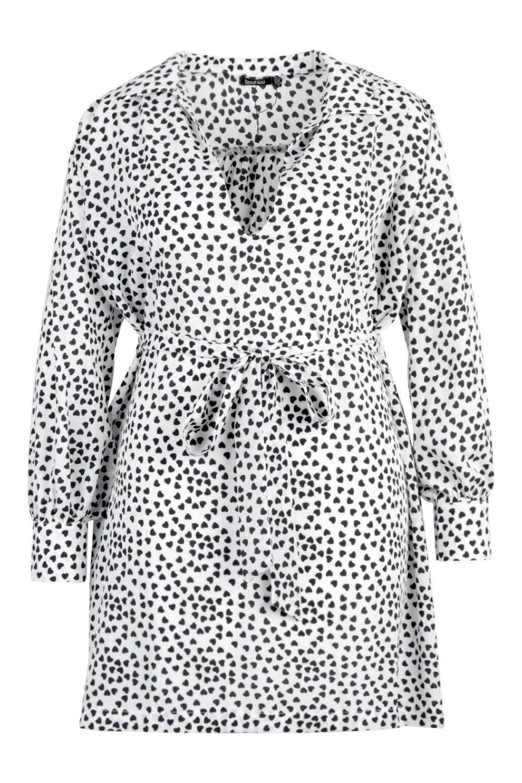 0acbd1d9ac Boohoo - White Plus Heart Print Tie Waist Shirt Dress - Lyst. View  fullscreen