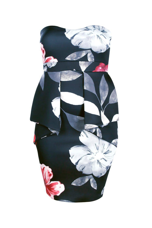 43fda08f9c Lyst - Boohoo Plus Sinead Floral Peplum Dress in Blue