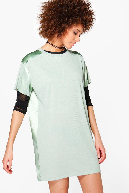 d69e506588a1 Boohoo Aaliyah Rib And Satin Detail Shift Dress in Green - Lyst