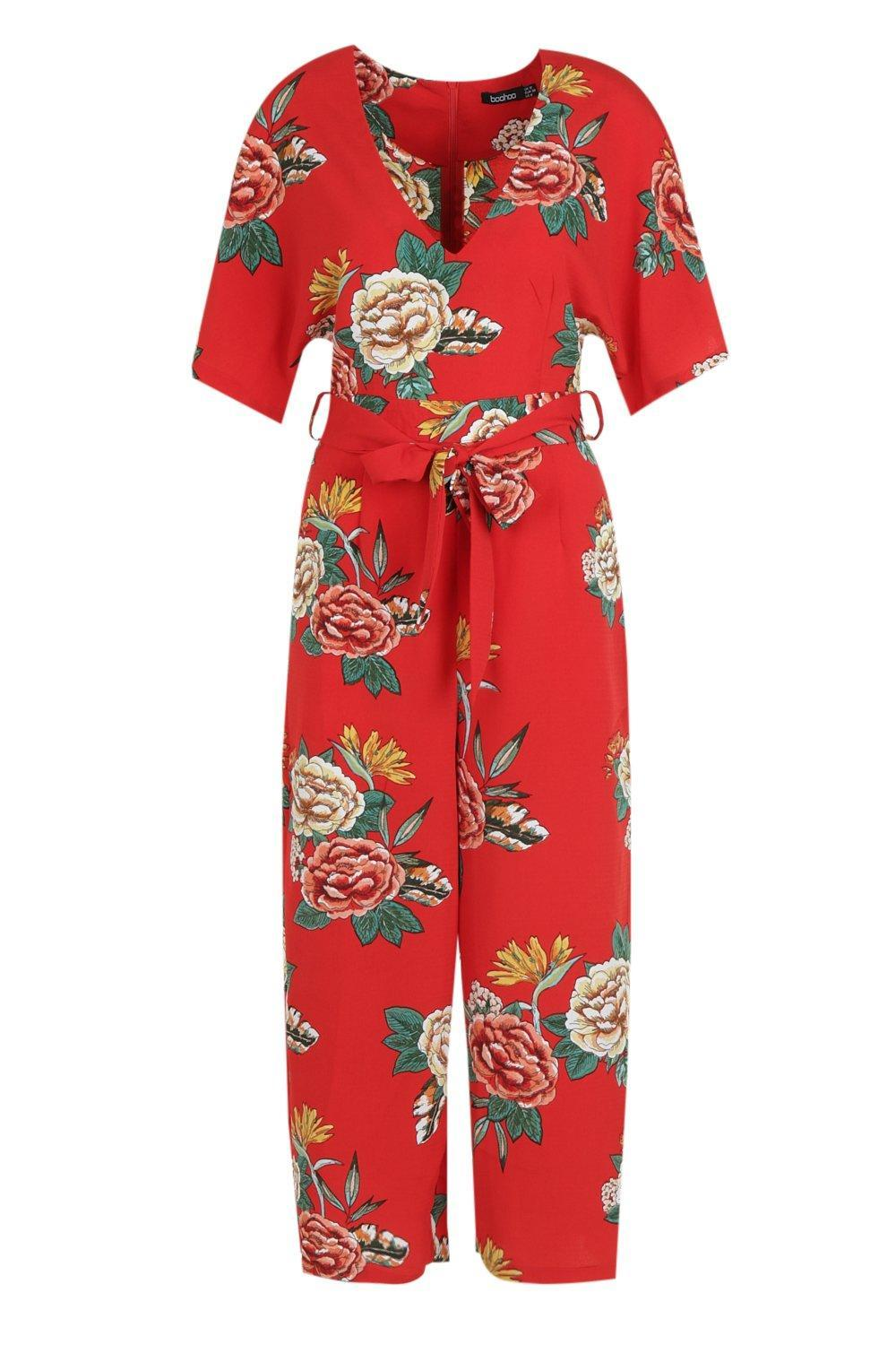 35128b9a9c Boohoo - Red Large Floral Capped Sleeve Jumpsuit - Lyst. View fullscreen