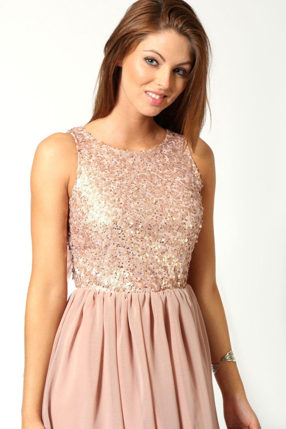 f9af76cca95c Boohoo - Pink Sequin Top Open Back Chiffon Dip Hem Dress - Lyst. View  fullscreen