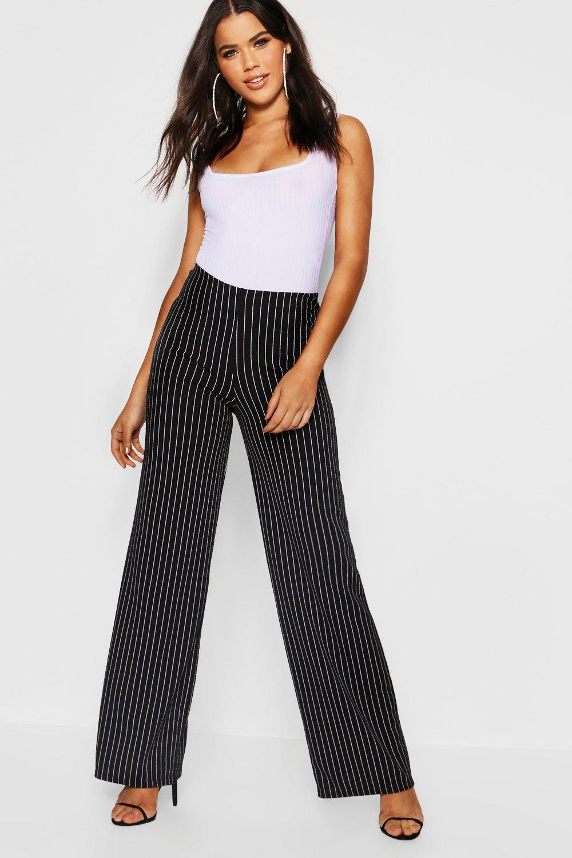 42b93e297431 Lyst - Boohoo Pinstripe Wide Leg Trousers in Black
