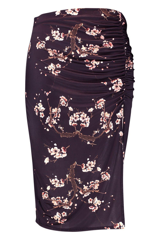 c5792a4359 ... Plus Slinky Cherry Blossom Ruched Split Midi Skirt - Lyst. View  fullscreen