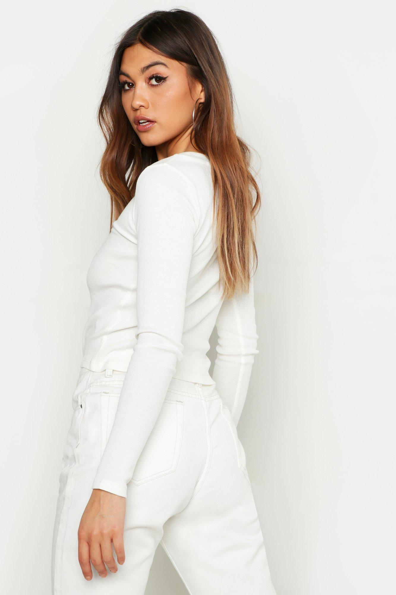 c6e2d23028427a Boohoo - White Rib The Front Long Sleeve Top - Lyst. View fullscreen
