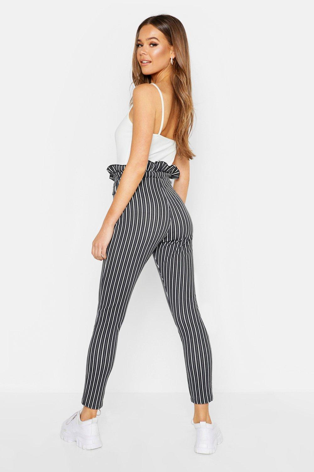 c7f0be031958 Boohoo - Multicolor Paper Bag Tie Waist Stripe Trousers - Lyst. View  fullscreen
