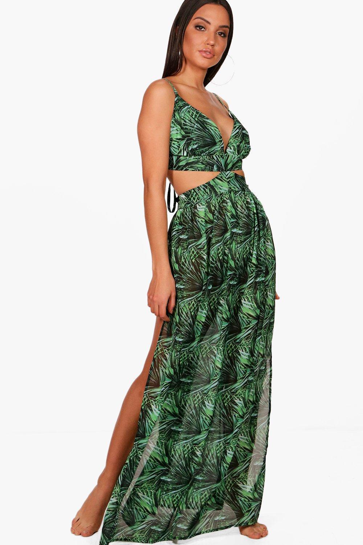 cbfe543ba30e Boohoo Gracie Rainforest Cut Out Maxi Beach Dress in Green - Lyst