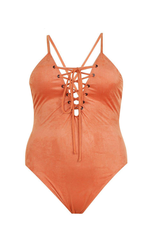 421657ad7fd8 Boohoo Plus Jess Lace Up Side Suede Effect Swimsuit in Orange - Lyst