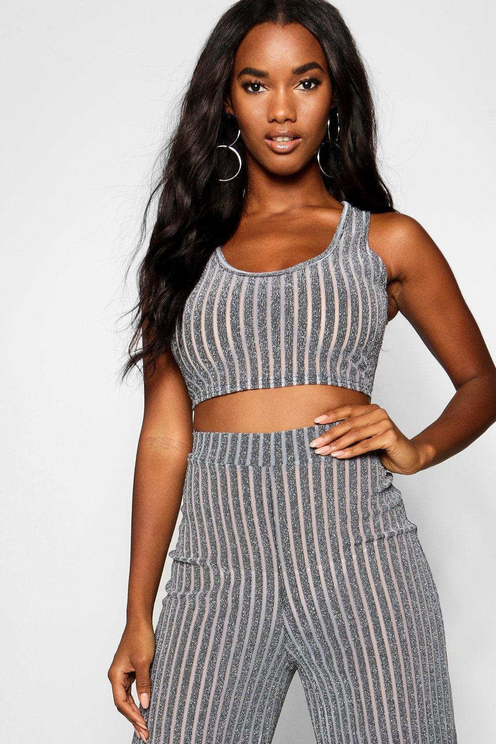 cfbd8d8a67 Boohoo Sheer Metallic Rib Bralet + Wide Leg Trouser Co-ord in Gray ...