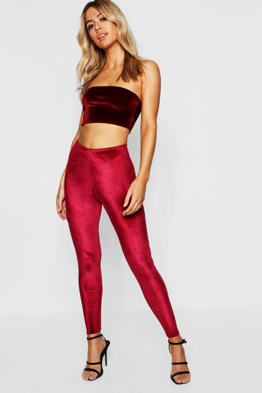 a6b63f4fc2154 Lyst - Boohoo Petite Velvet High Waisted Legging in Red