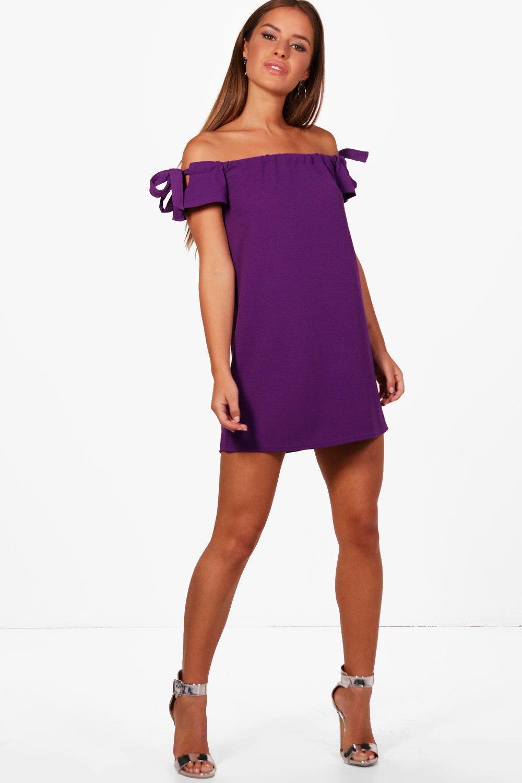 6471d9717ad7 Lyst - Boohoo Petite Off The Shoulder Tie Sleeve Dress in Purple