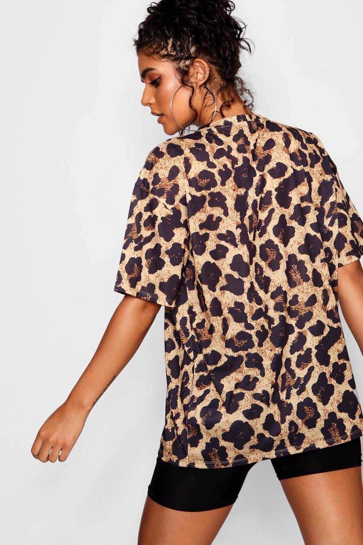 b685c85c7c6a Lyst - Boohoo Ella Leopard Print Oversized T-shirt in Brown