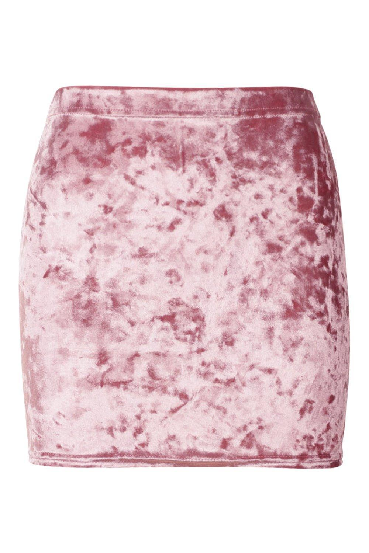 ba568f32f1 Boohoo Petite Crushed Velvet Mini Skirt - Lyst