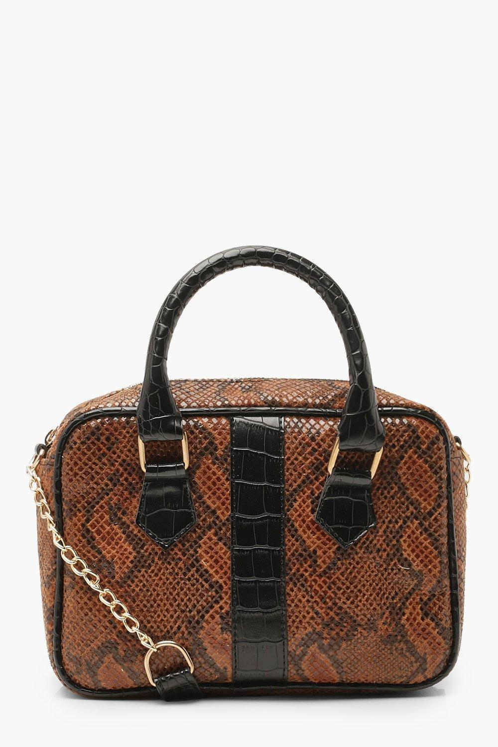 Boohoo Faux Snake Bowling Bag in Brown - Lyst 86a931cfa91b5