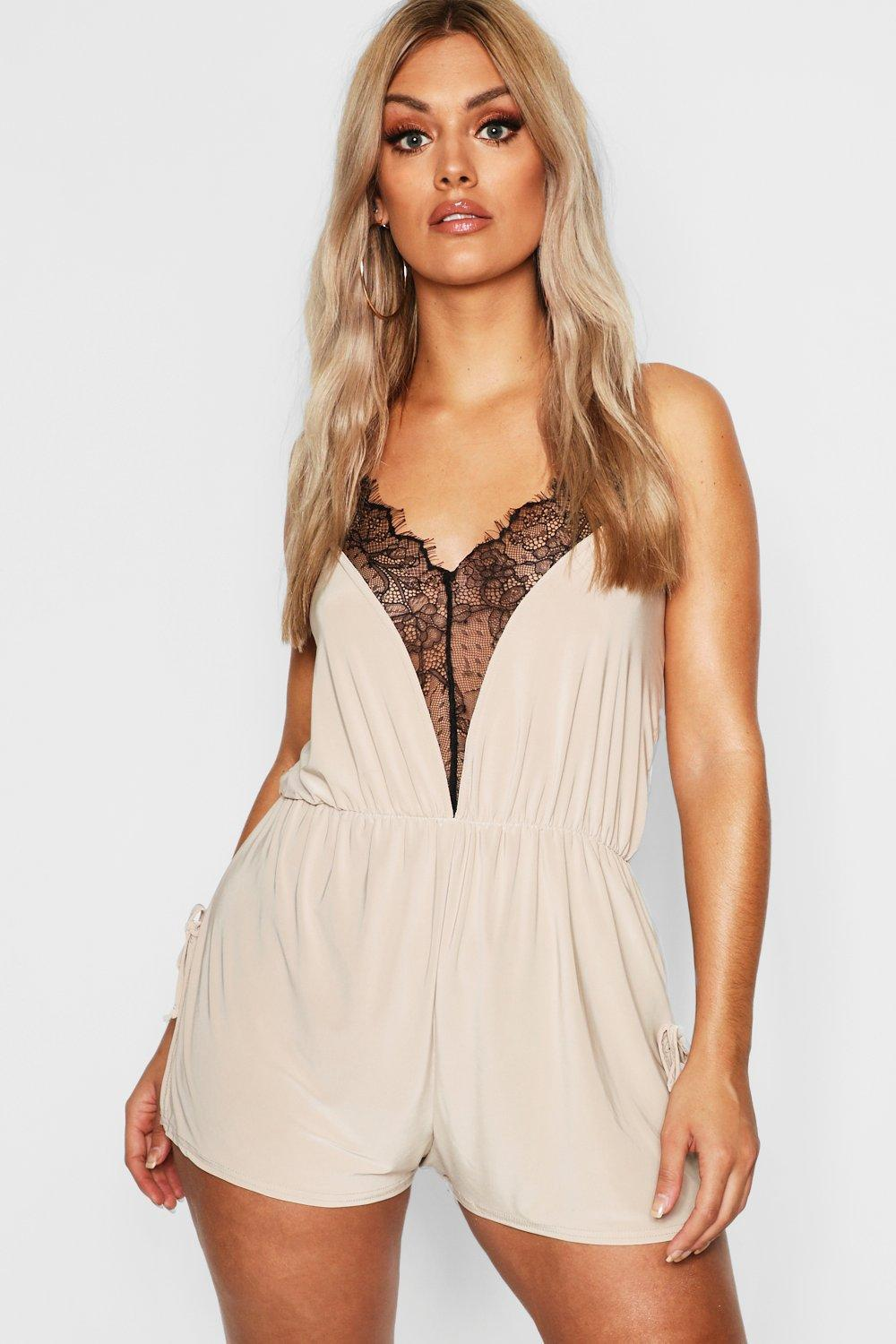 780254e15974 Boohoo Plus Lace Slinky Teddy in Natural - Lyst
