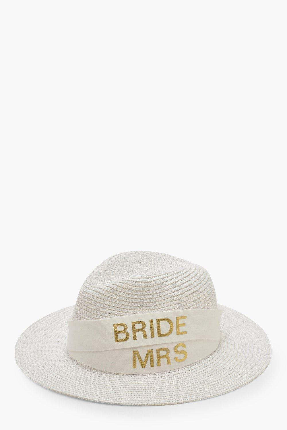 9501fbcaa Boohoo Changeable Band Bride & Mrs Tape Fedora Hat in White - Lyst