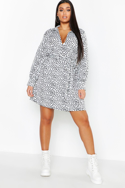 40940b816d Lyst - Boohoo Plus Heart Print Tie Waist Shirt Dress in White