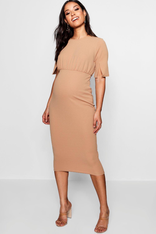 d3a3cc0a76cd5 Boohoo Maternity Split Sleeve Wiggle Midi Dress - Lyst