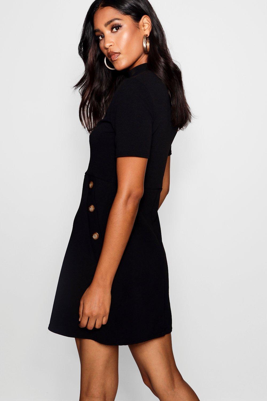 1d22afe4a8 Boohoo - Black Button Detail High Neck Dress - Lyst. View fullscreen