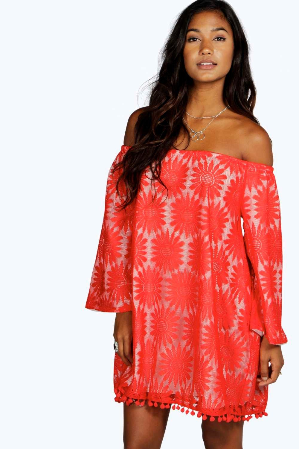 Lyst Boohoo Clare Sunflower Lace Off The Shoulder Dress