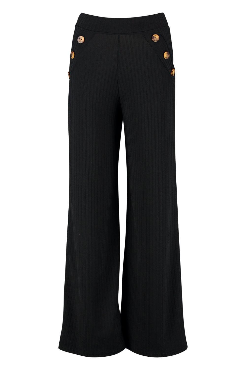 91399c48e278 Boohoo - Black Petite Mock Horn Button Rib Wide Leg Pants - Lyst. View  fullscreen