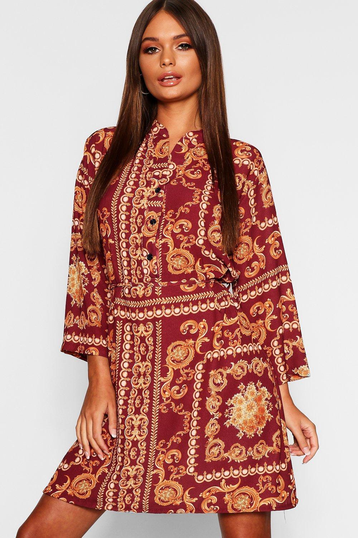 e50bf8b2ad1bb8 Boohoo - Red Chain Print Tie Waist Shirt Dress - Lyst. View fullscreen