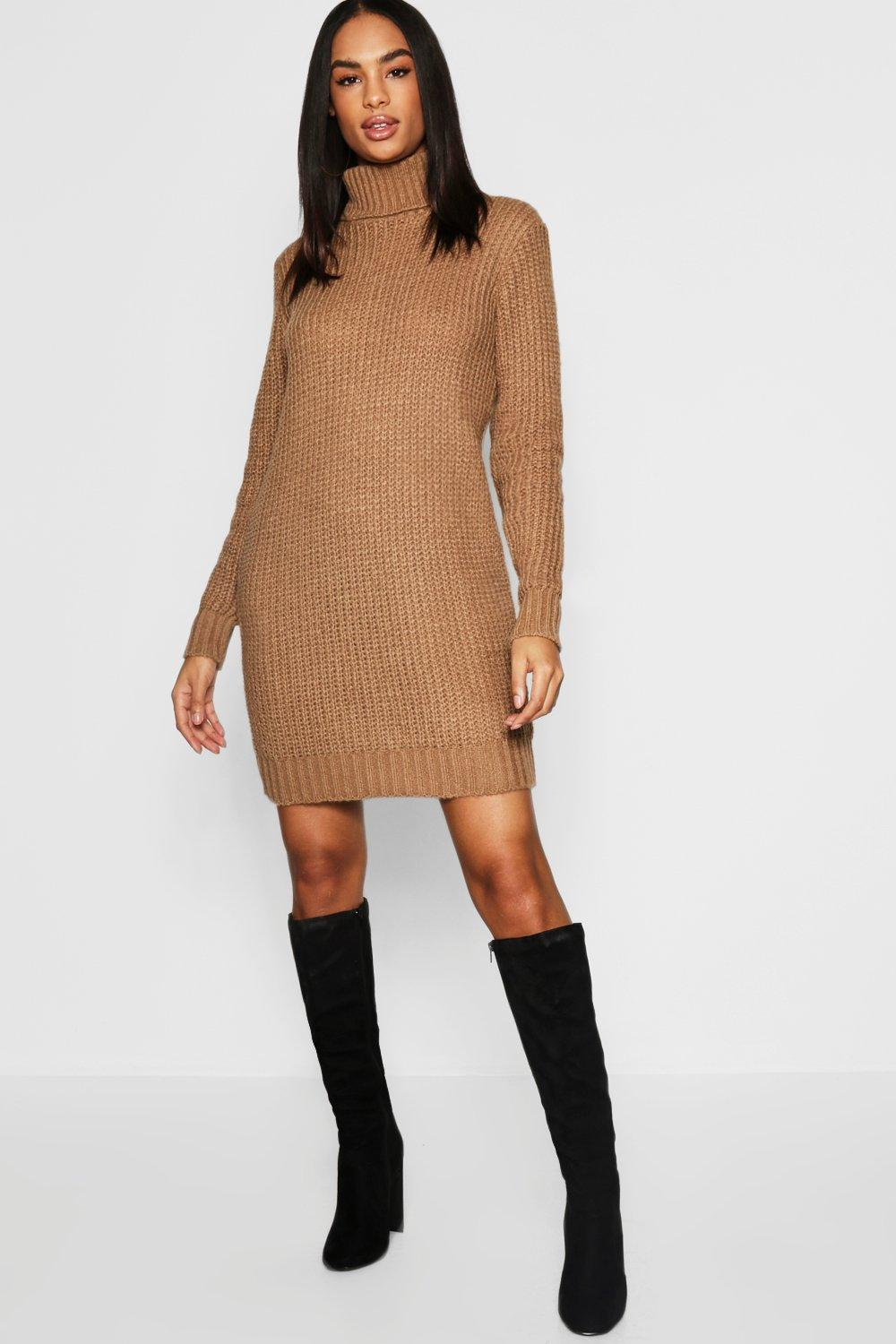 Boohoo Tall Soft Knit Roll Neck Sweater Dress in Brown - Lyst 3588fa923