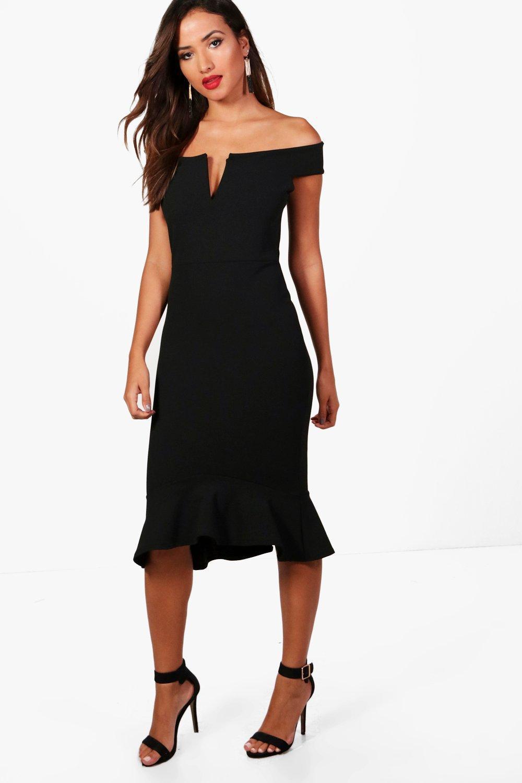 Boohoo Off The Shoulder Frill Hem Midi Dress in Black - Lyst ee2044d9f
