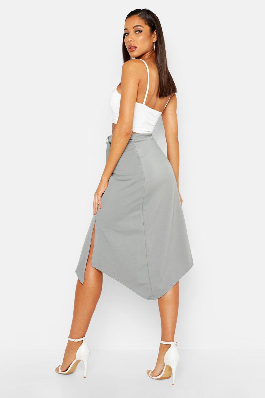 6383534c0a Lyst - Boohoo D-ring Midi Split Skirt