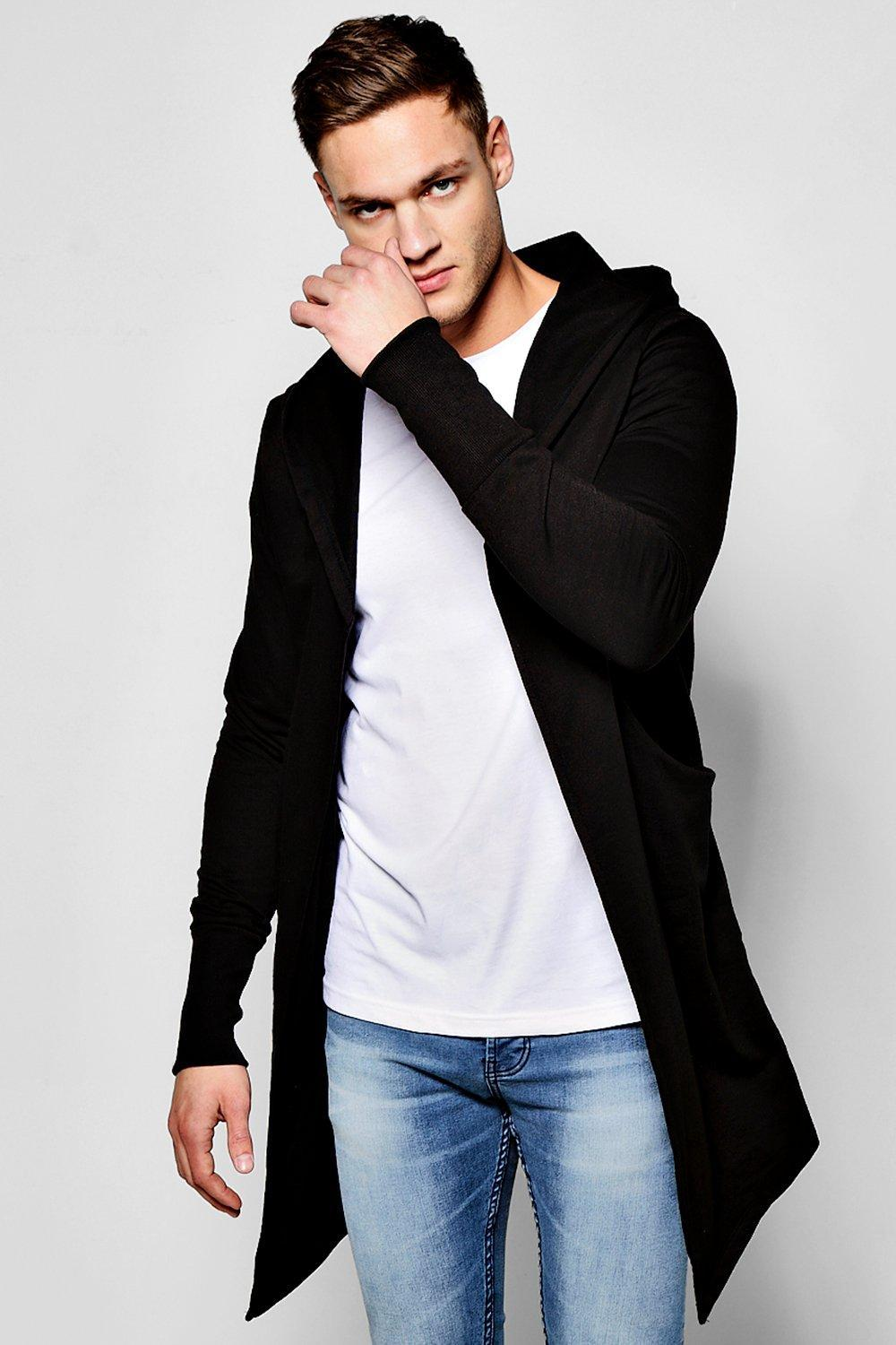 Boohoo Longline Hooded Cardigan With Extended Cuff in Black for ...
