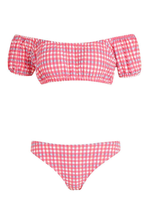 f2946de6e5 Boohoo Tunsia Balloon Sleeve Bardot Jacquard Bikini in Red - Lyst