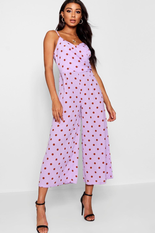 0a33ce1e08bc Boohoo Polka Dot Wrap Culotte Jumpsuit in Purple - Lyst