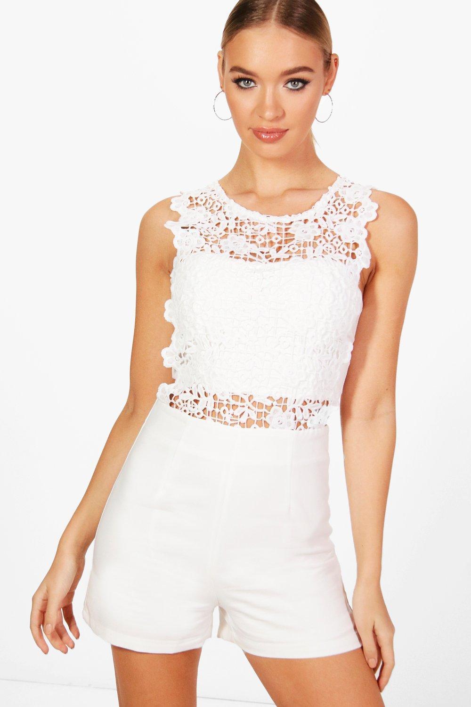 0dfc42f3bfe Lyst - Boohoo Crochet Romper in White