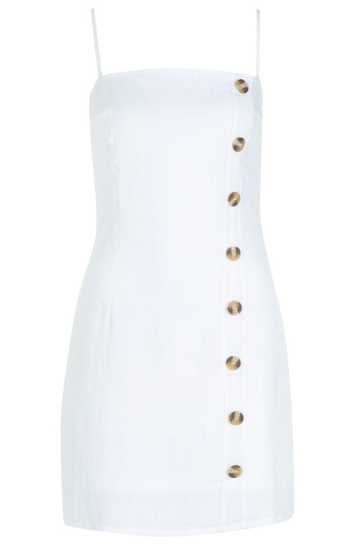 96a3be6c89 Boohoo - White Mock Horn Button Linen Mini Dress - Lyst. View fullscreen