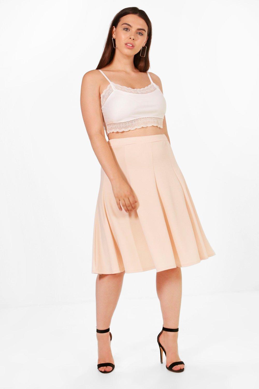 844981eb82d Boohoo Plus Elsa Scuba High Waist Pleated Midi Skirt in Natural - Lyst