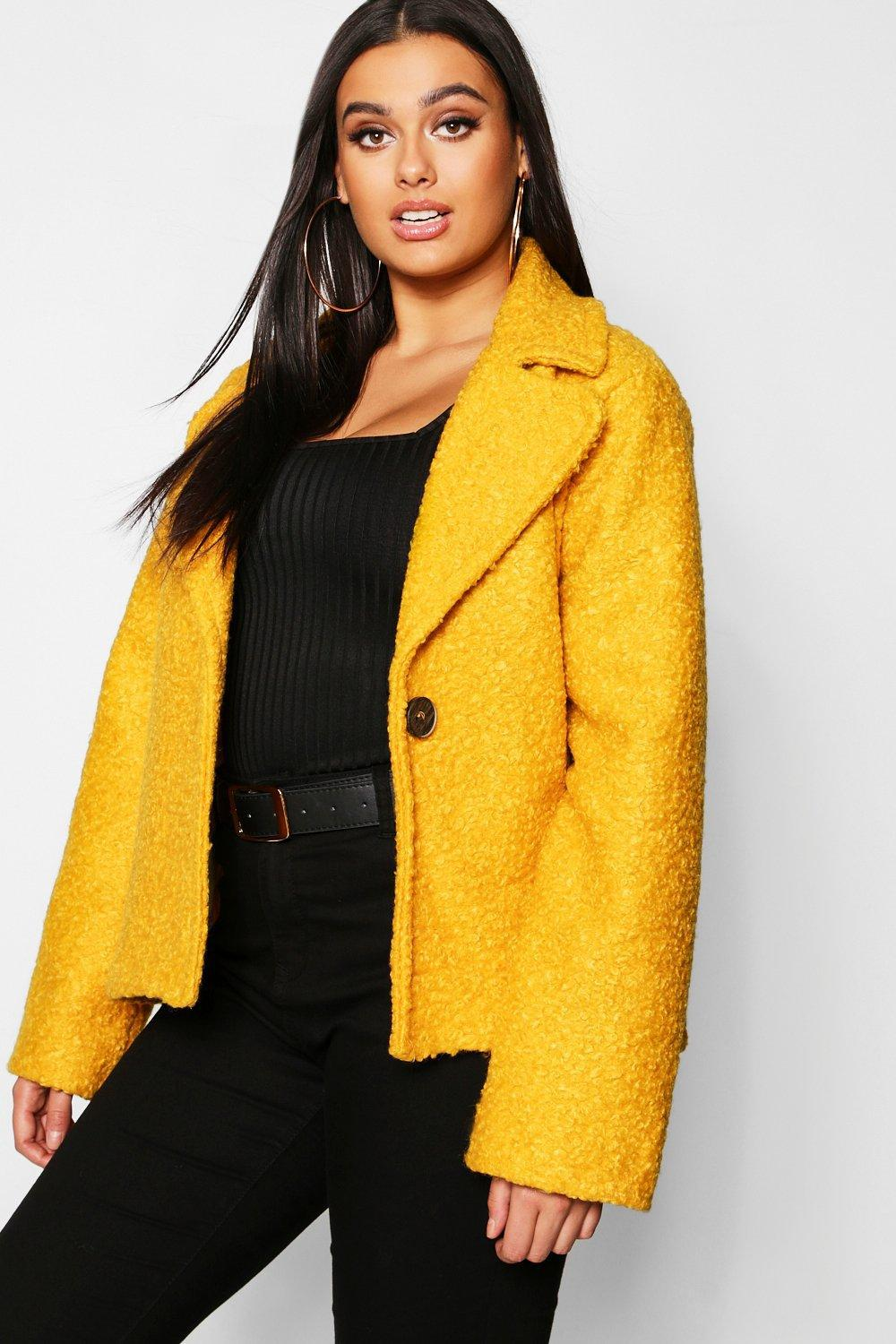 aab4afd78b2 Lyst - Boohoo Plus Short Button Faux Fur Teddy Coat in Yellow