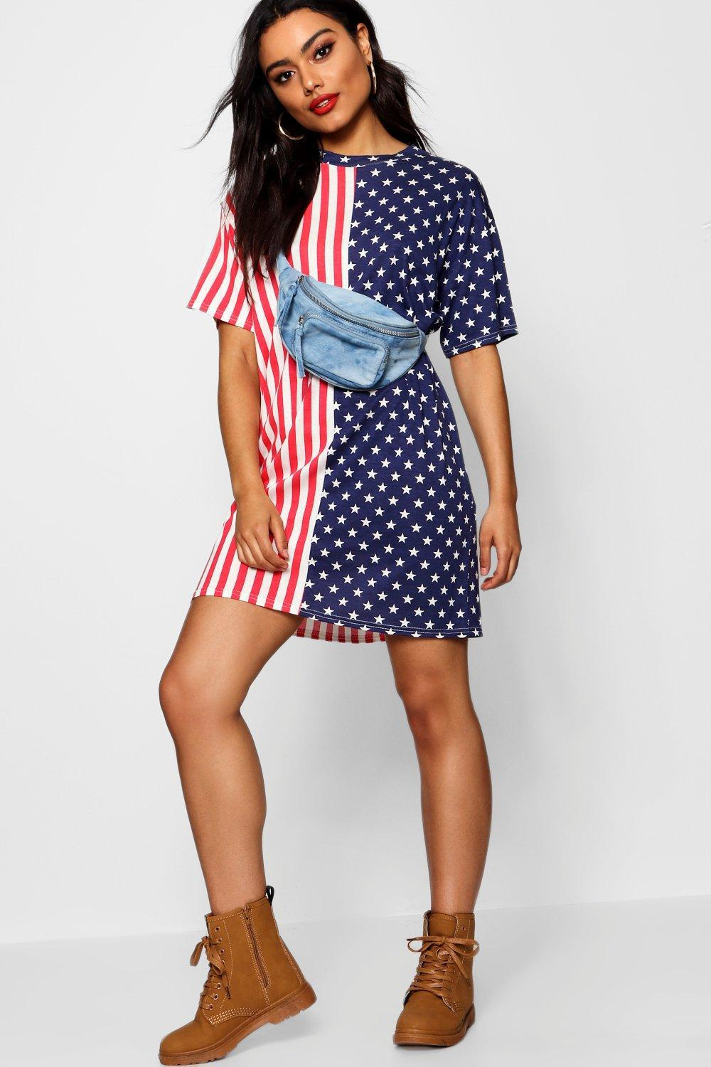 a725a1cd7e75 Boohoo Stars & Stripes Oversized T Shirt Dress in Red - Lyst