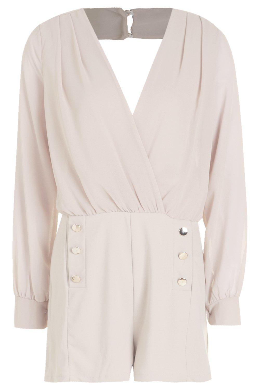 fbcf54c39d Boohoo Military Button Playsuit in Natural - Lyst